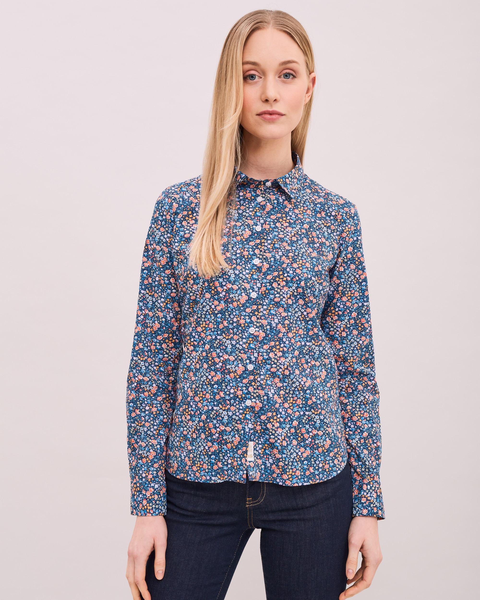 Blommig skjorta Louise - Blå