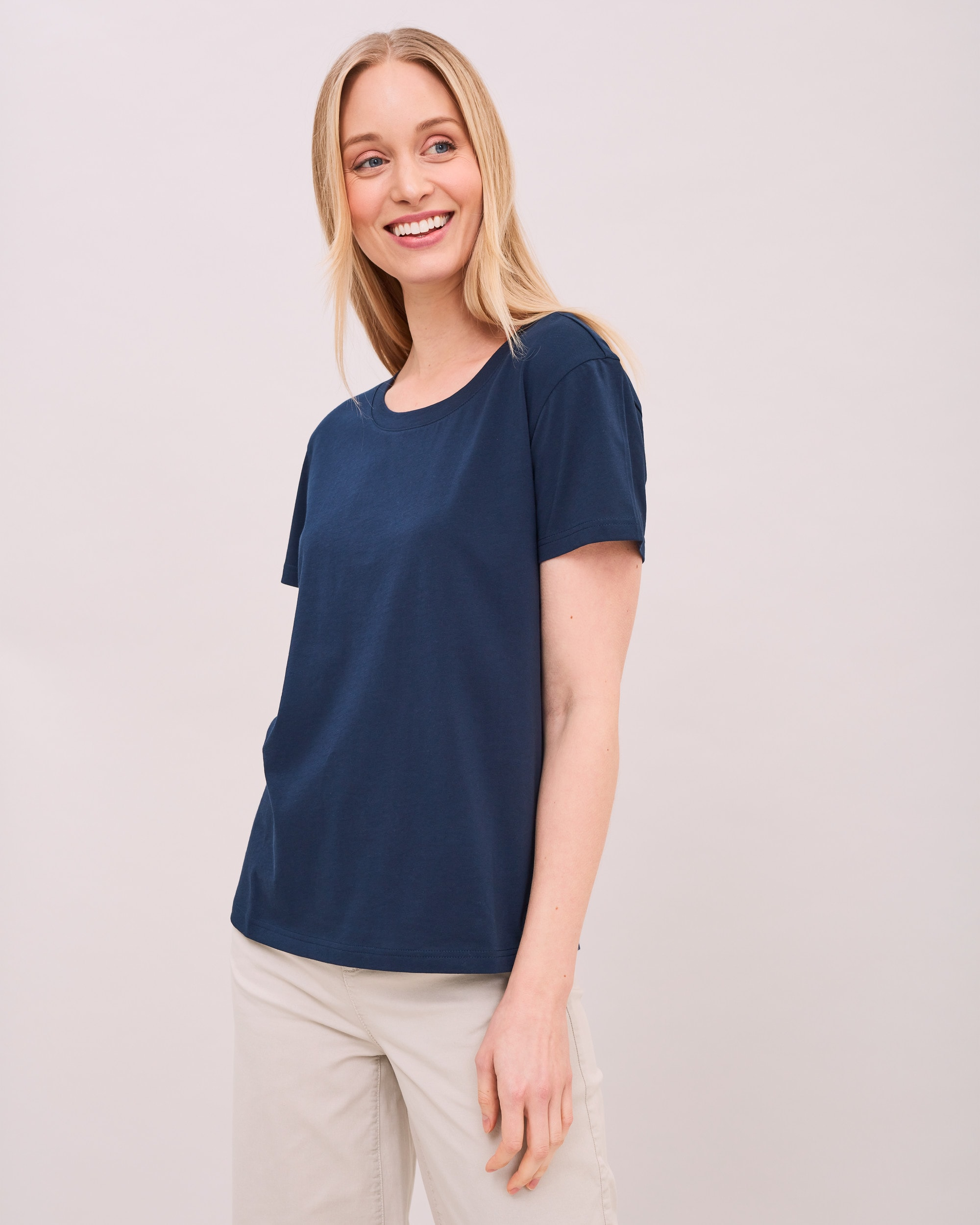 T-shirt Siri i bomull - Marinblå